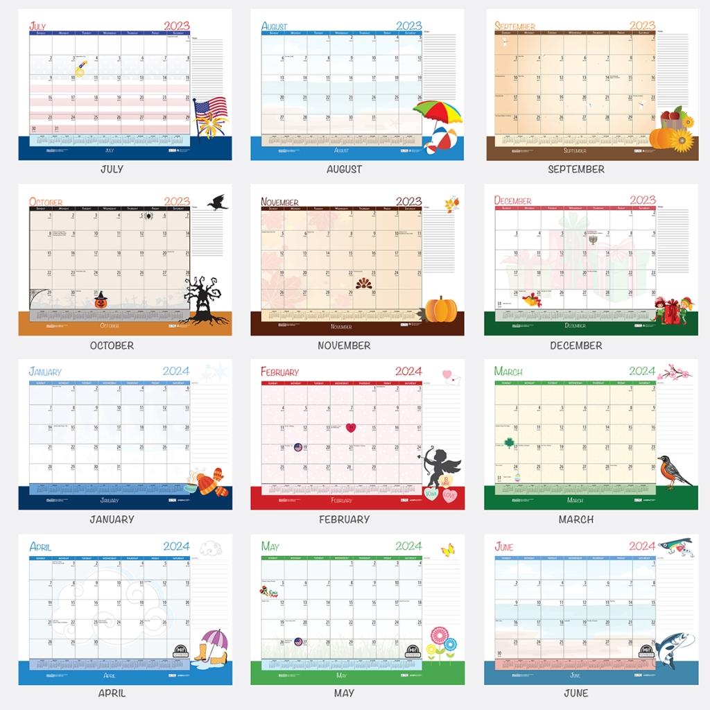 Year Calendar Desk : Monthly deskpad calendar academic seasonal holiday