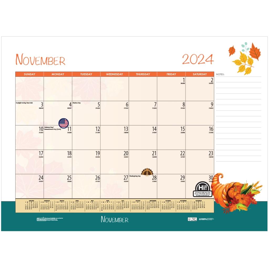 Monthly Deskpad Calendar Seasonal Holiday Depictions 22 x ...