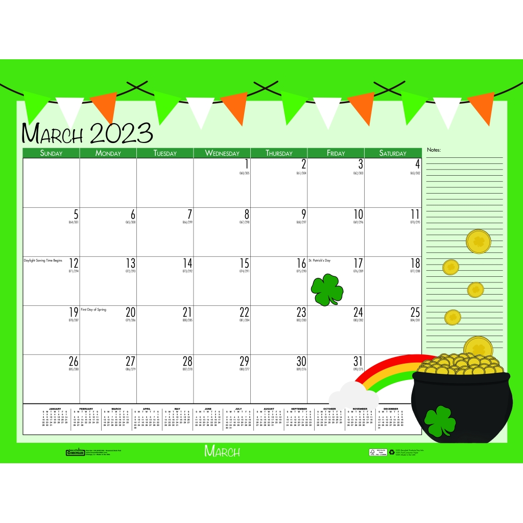 Monthly Deskpad Calendar Seasonal Holiday Depictions 22 X