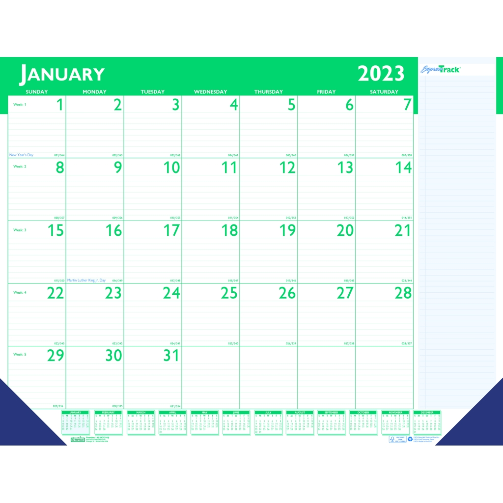 Monthly Desk Pad Calendar Express Track 174 22 X 17 Inches