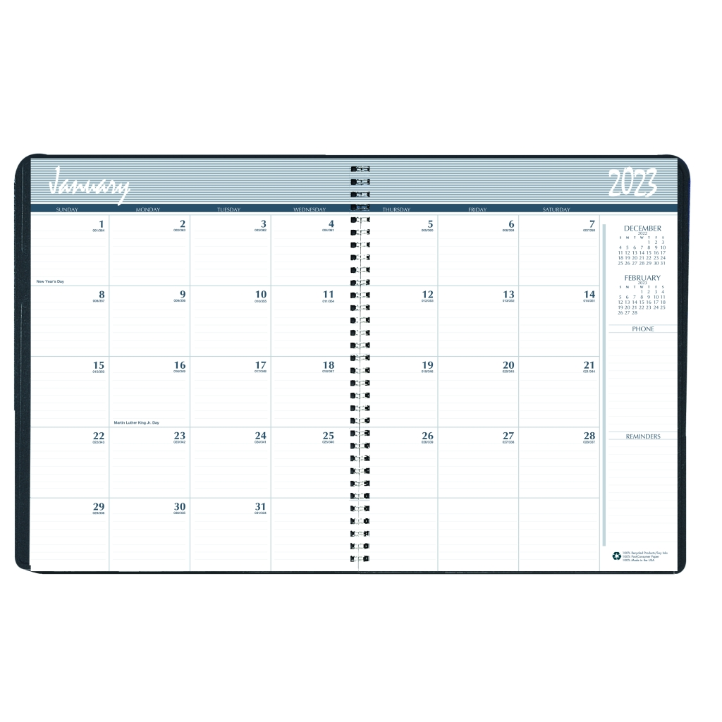 monthly calendar planner 2 year black 8 1 2 x 11 inches house of