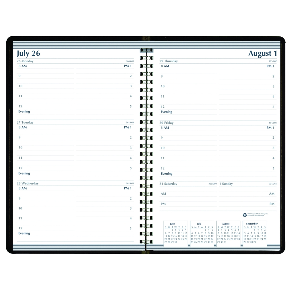 Weekly Calendar Academic Planner Horizontal Format Black 5 X 8