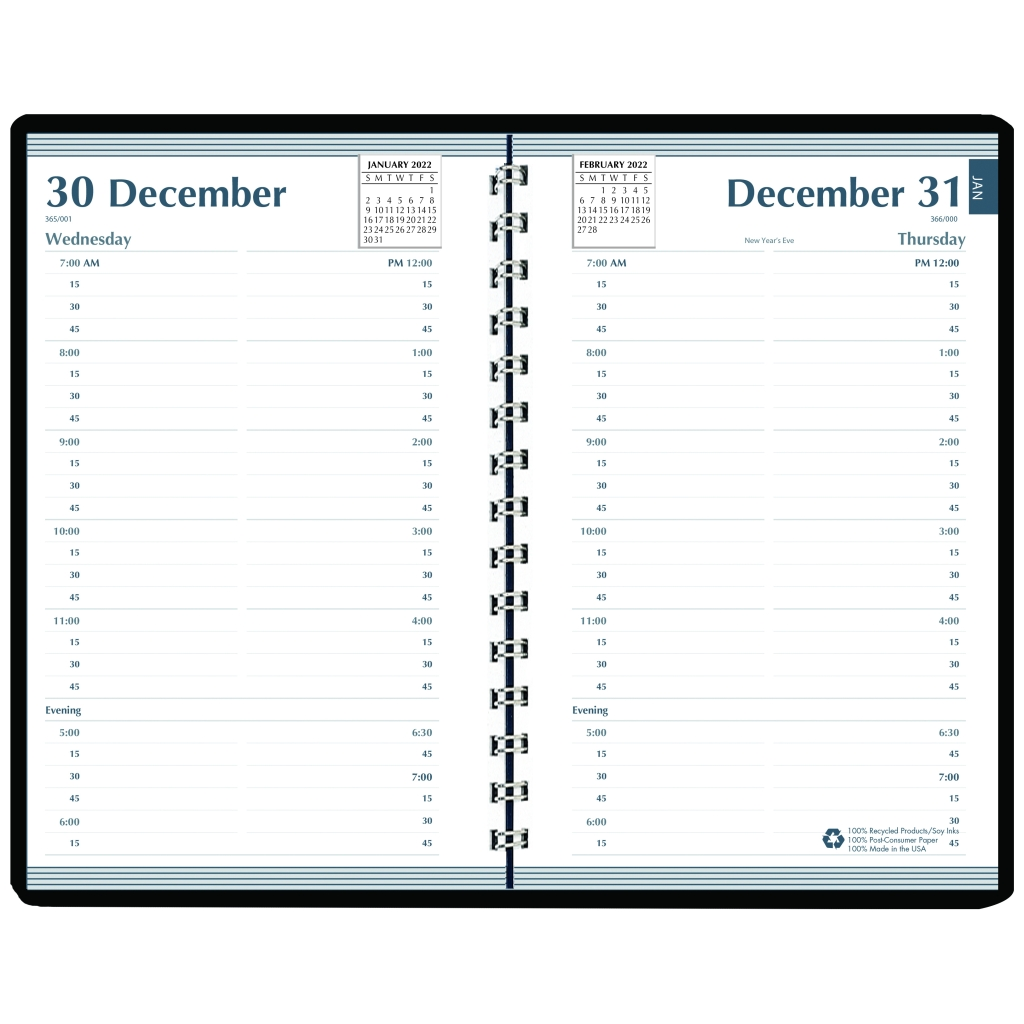 daily calendar planner black cover 5 x 8 inches
