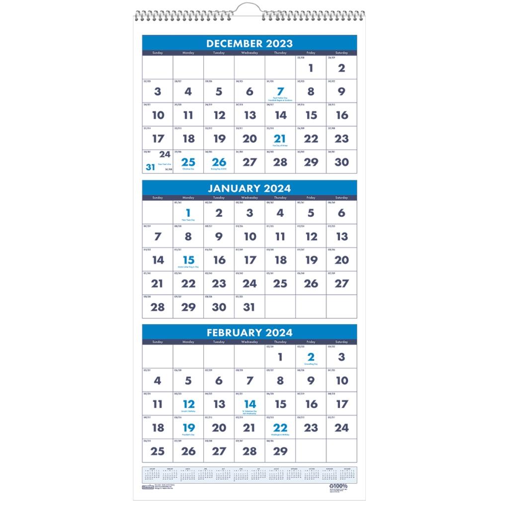Three Month Vertical Wall Calendar 8 X 17 Inches House