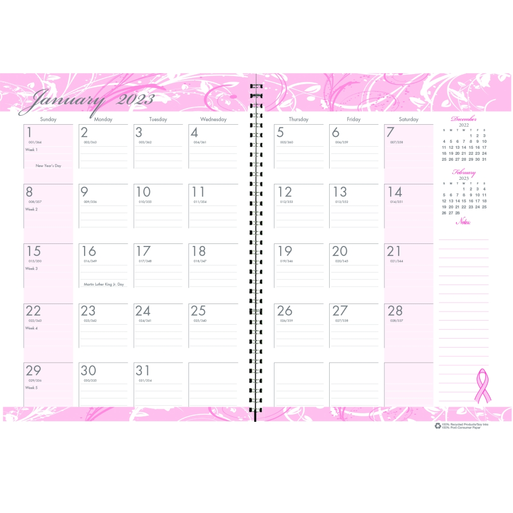 Monthly Planner And Journal Breast Cancer Awareness 7 X 10