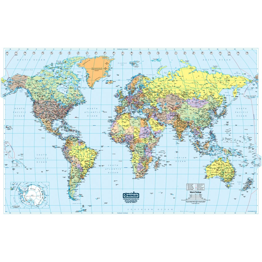 laminated world map 50 x 33 inch