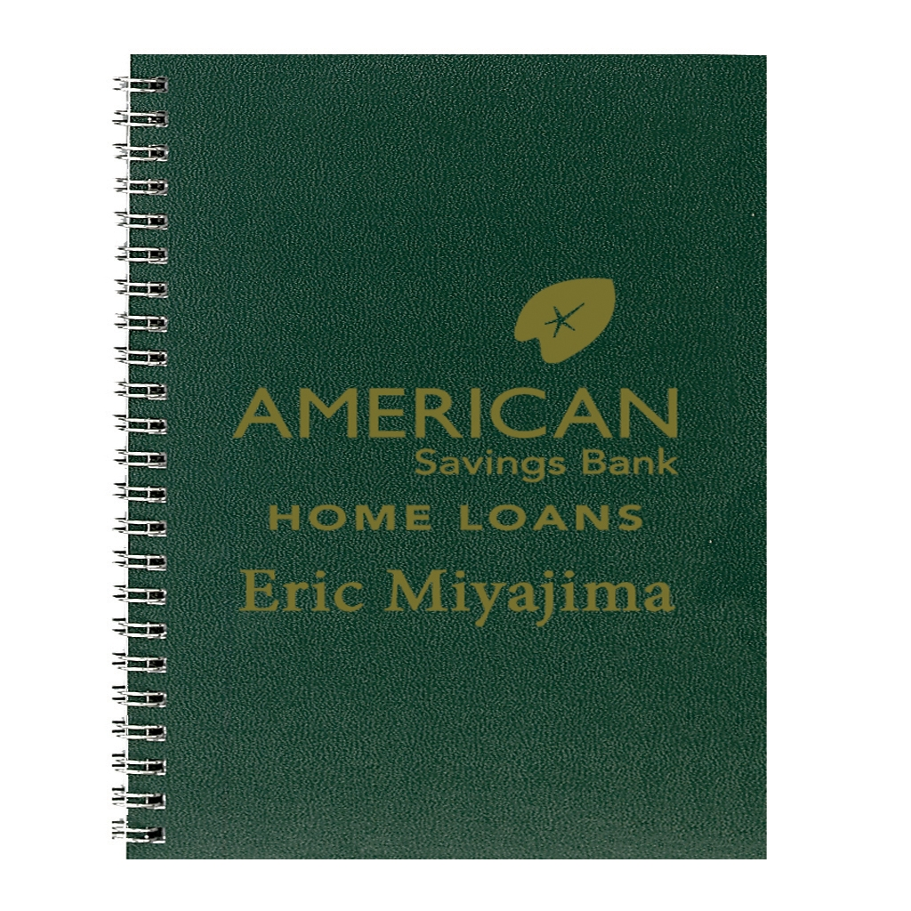 Professional Weekly Planner with Green Leatherette Cover 8-1/2 x 11 Inches