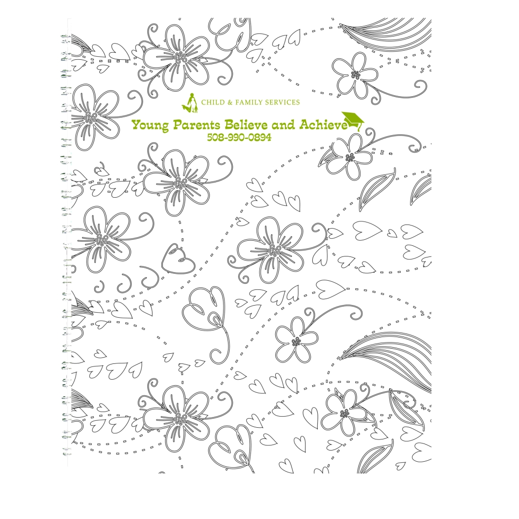 Doodle Imprinted Notebook Black and White Coloring Hard Cover 7 x 9 Inches