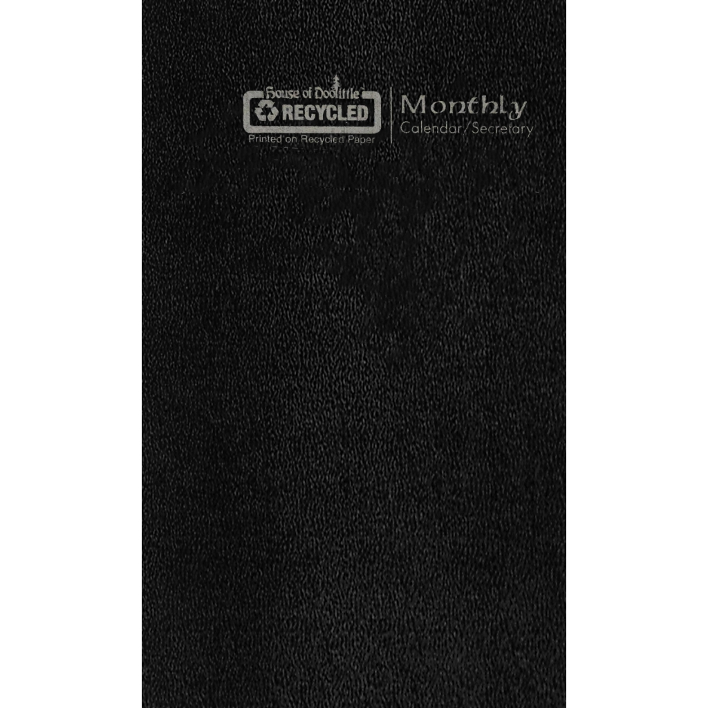 Monthly Pocket Calendar Black Cover 3.6 x 6.5 Inches
