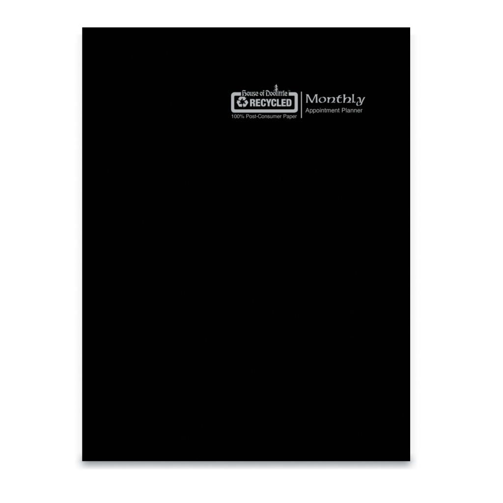 Economy Calendar Planner Monthly Black Cover 8-1/2 x  11 Inches