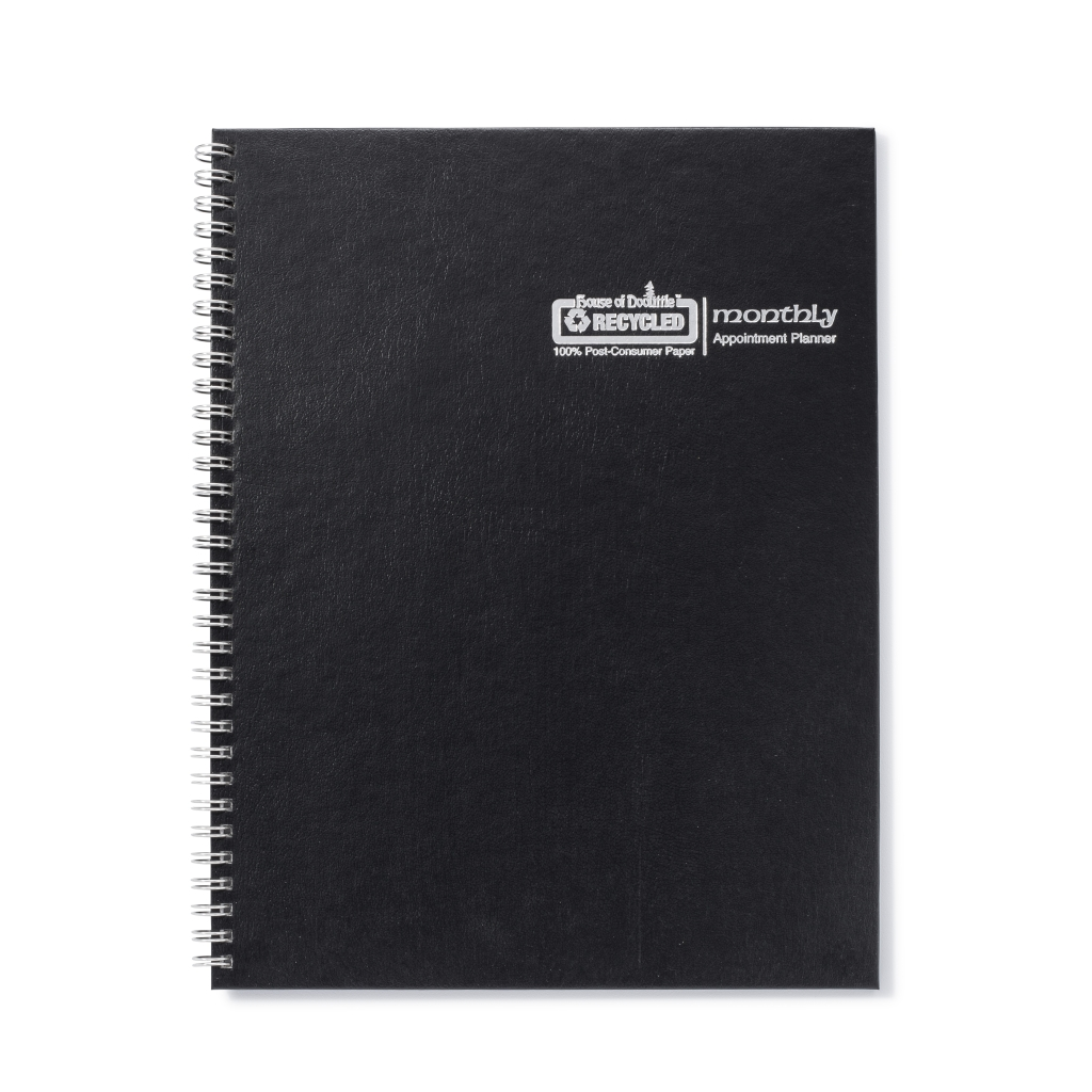 Monthly Calendar Planner Black Hard Cover 8-1/2 x  11 Inches