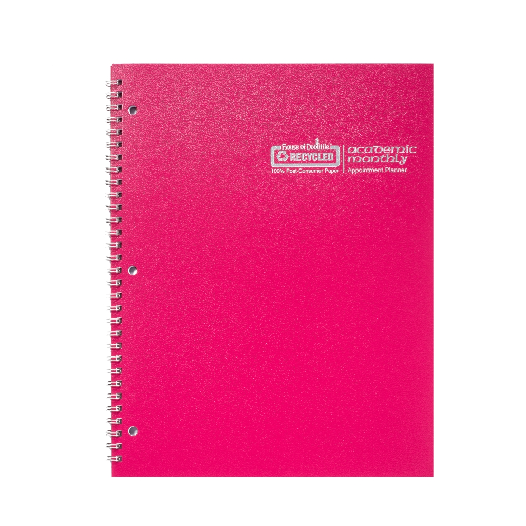 Monthly Calendar Planner Academic Dark Pink 8-1/2 x  11 Inches
