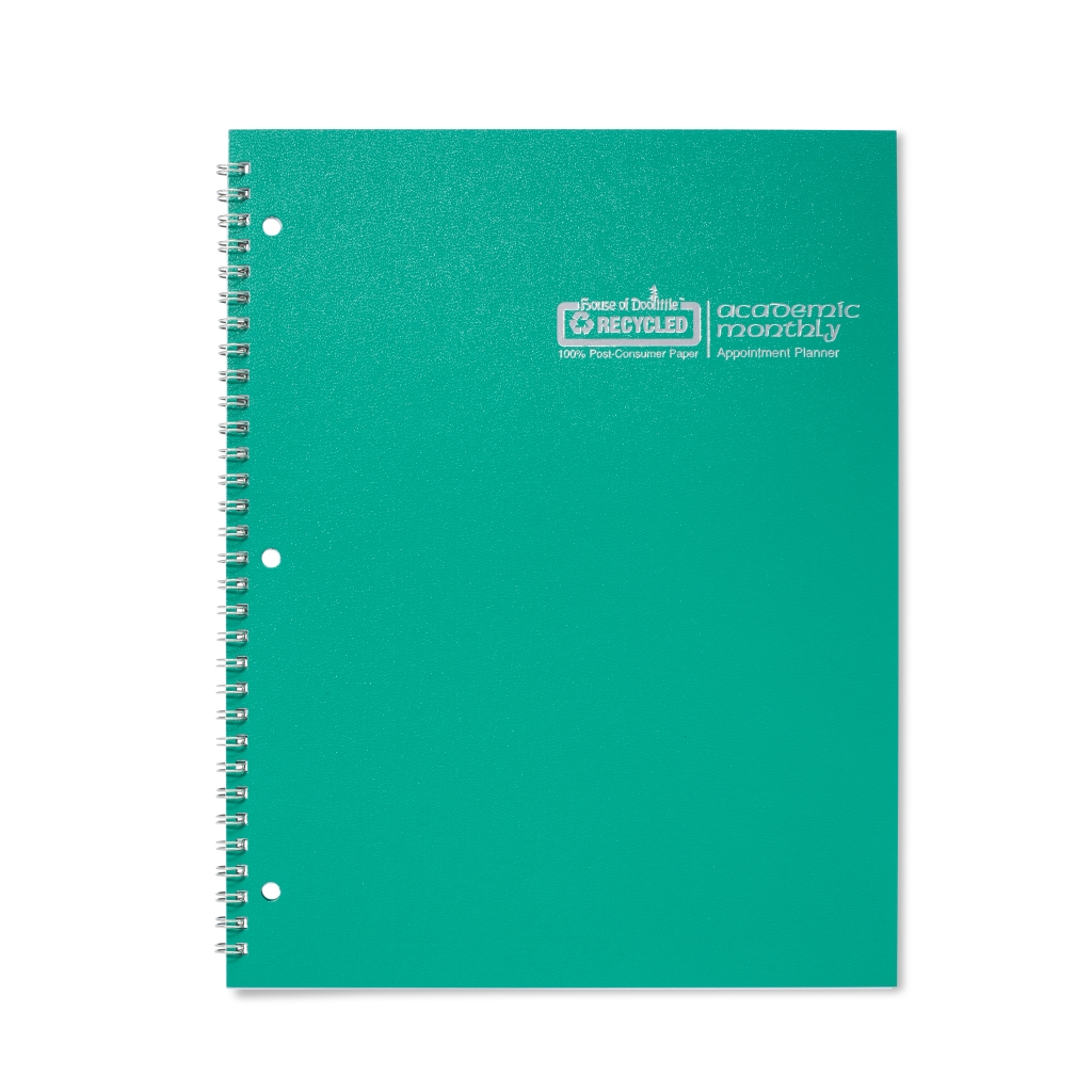 Monthly Calendar Planner Academic Bright Green 8-1/2 x  11 Inches