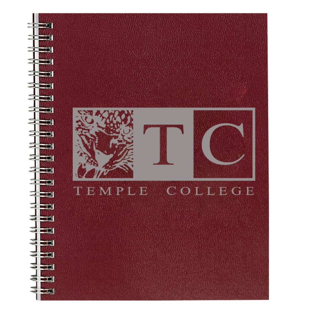 Imprinted Academic Monthly Planner with Burgundy Leatherette Cover and 4 Custom Full-Color Insert Pages 8-1/2 x 11 Inches
