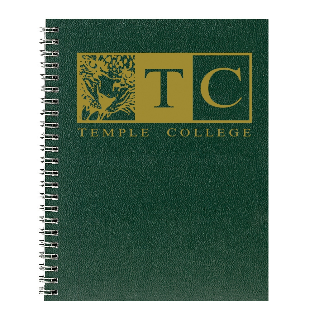Imprinted Academic Monthly Planner with Green Leatherette Cover and 4 Custom Full-Color Insert Pages 8-1/2 x 11 Inches