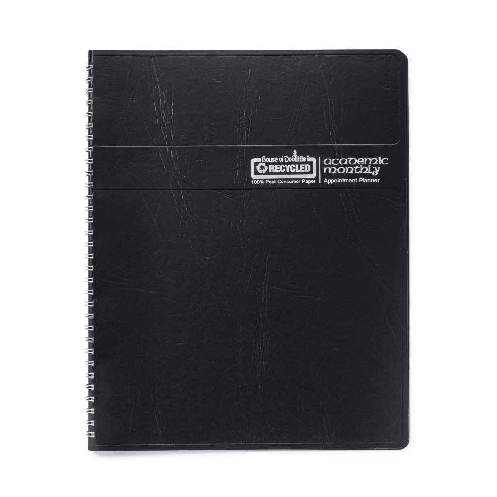 Monthly Calendar Planner Academic Black 8-1/2 x  11 Inches