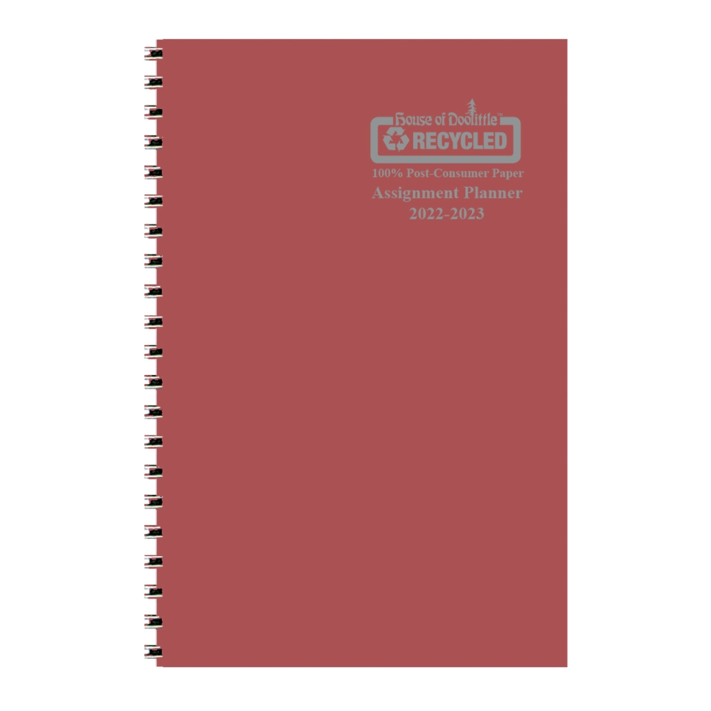 Weekly Academic Assignment Book Planner Burgundy 5 x 8 Inches