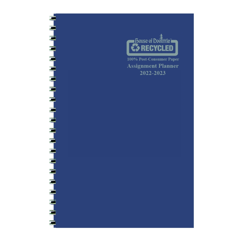 Weekly Academic Assignment Book Planner Blue 5 x 8 Inches
