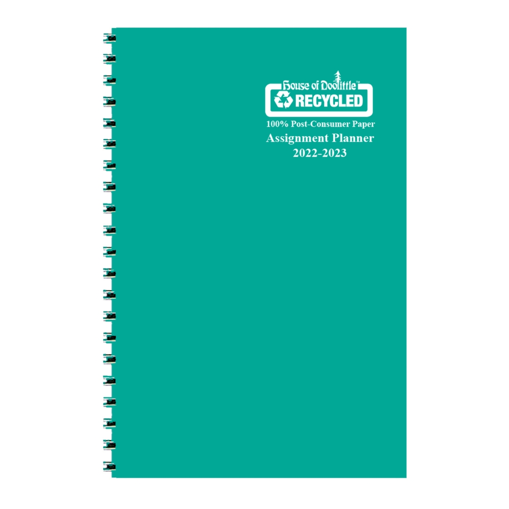 Weekly Academic Assignment Book Planner Teal Vinyl 5 x 8 Inches