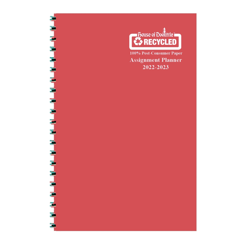 Weekly Academic Assignment Book Planner Red Vinyl 5 x 8 Inches