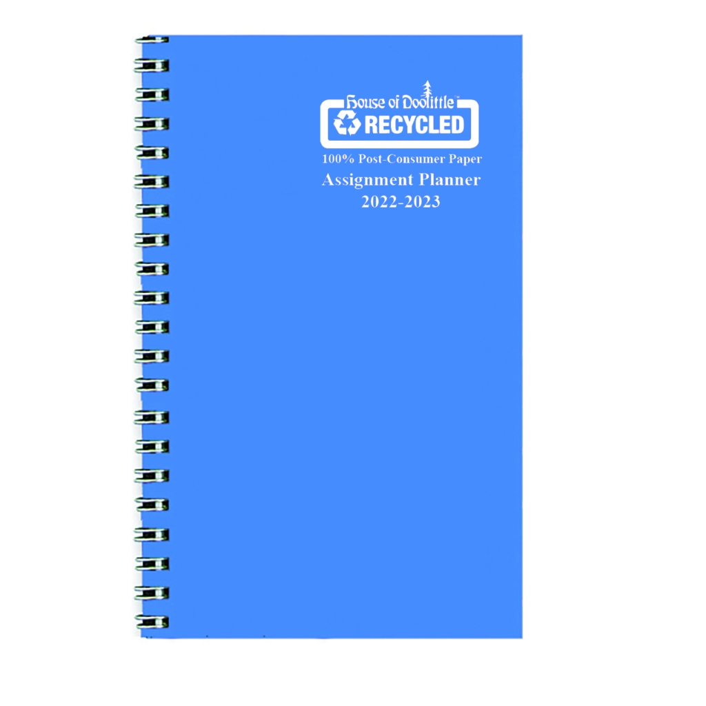 Weekly Academic Assignment Book Planner Blue Vinyl 5 x 8 Inches