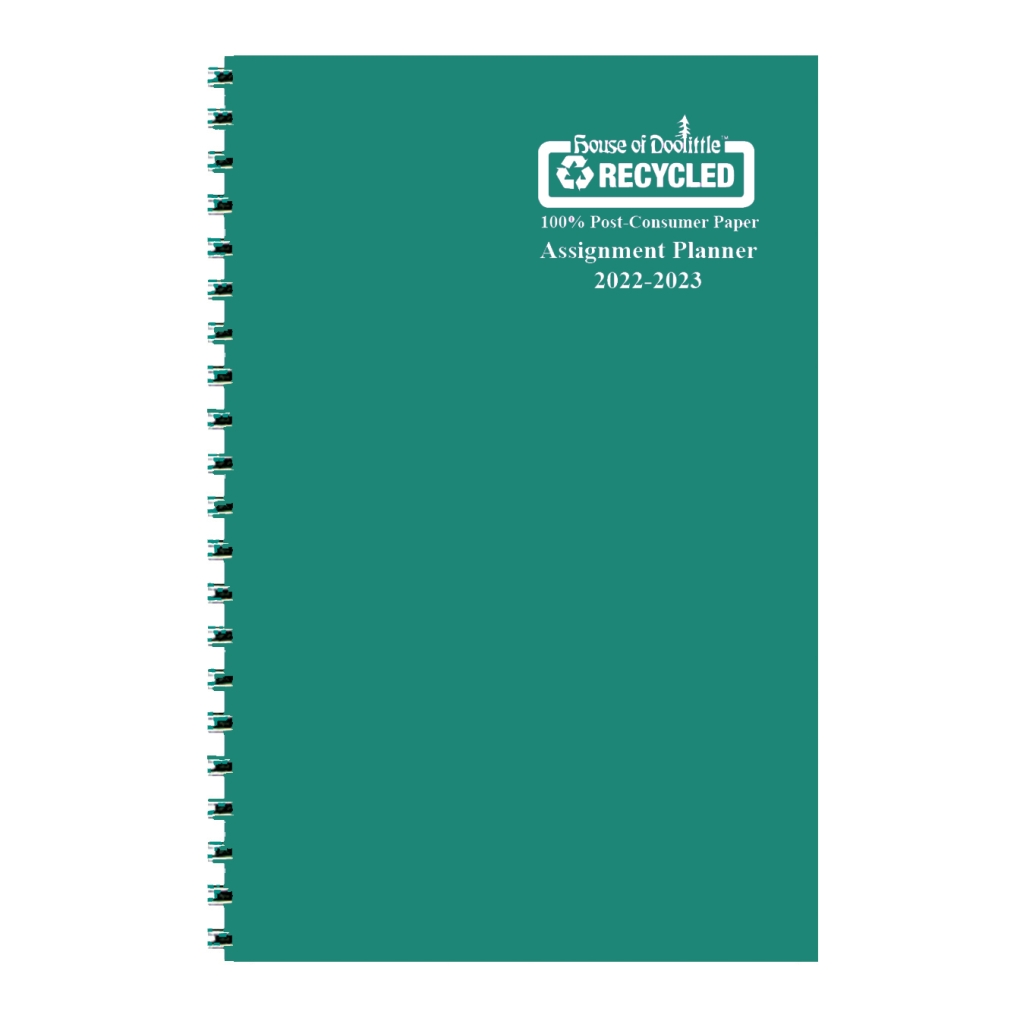 Weekly Academic Assignment Book Planner Green Vinyl 5 x 8 Inches