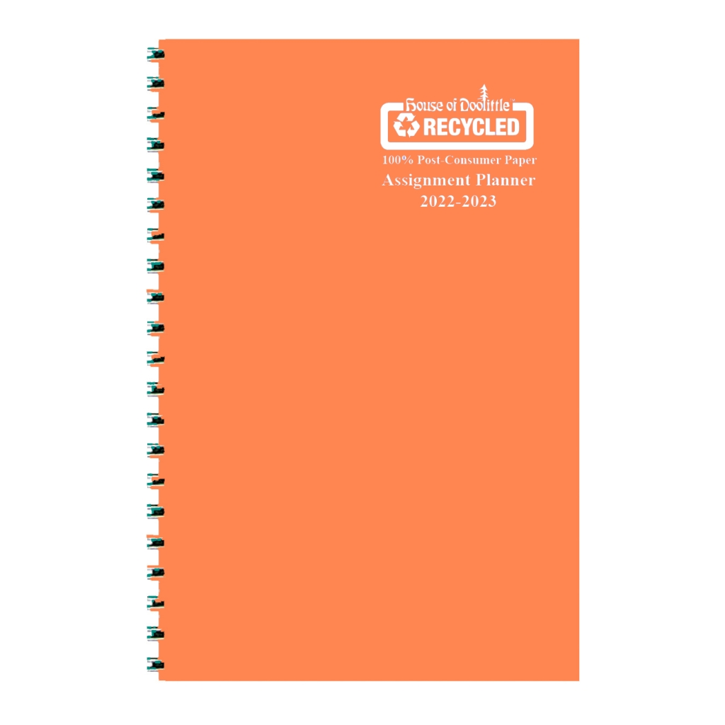 Weekly Academic Assignment Book Planner Orange Vinyl 5 x 8 Inches