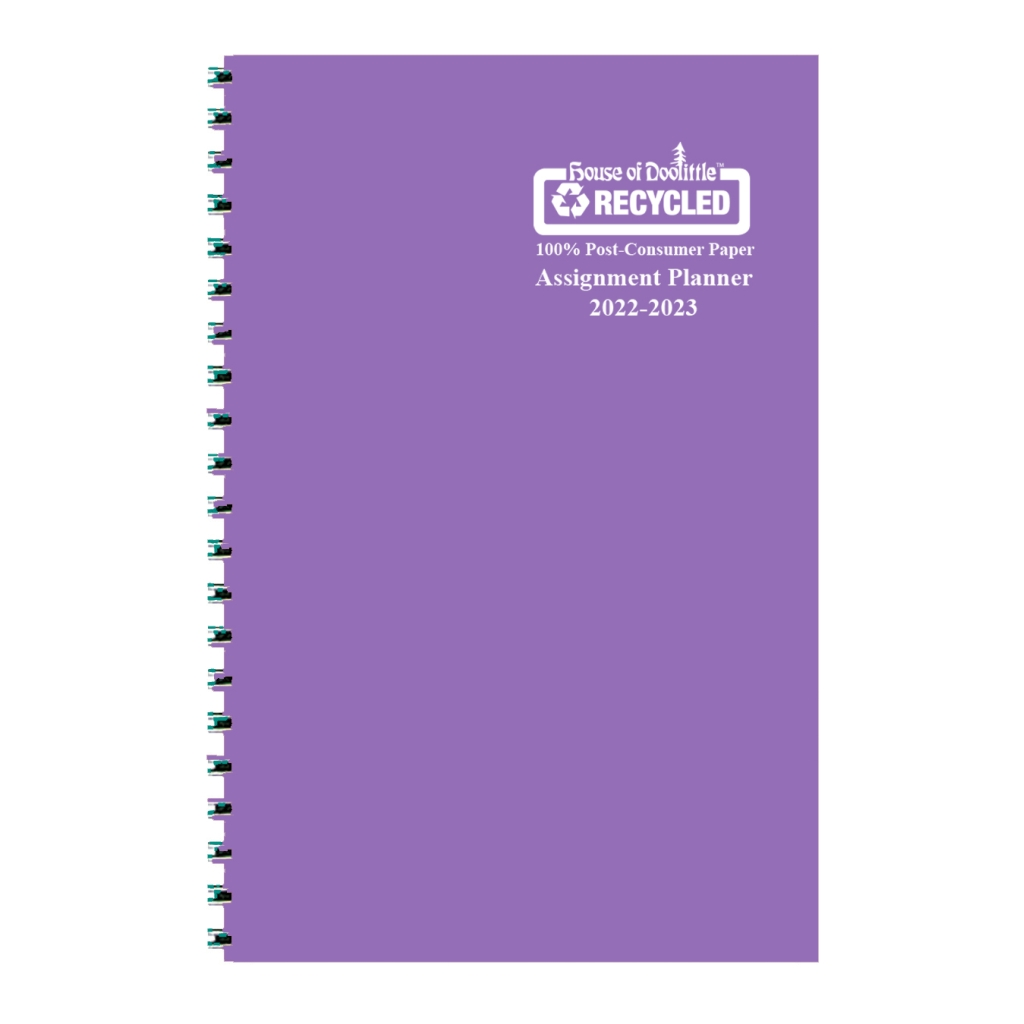 Weekly Academic Assignment Book Planner Purple Vinyl 5 x 8 Inches