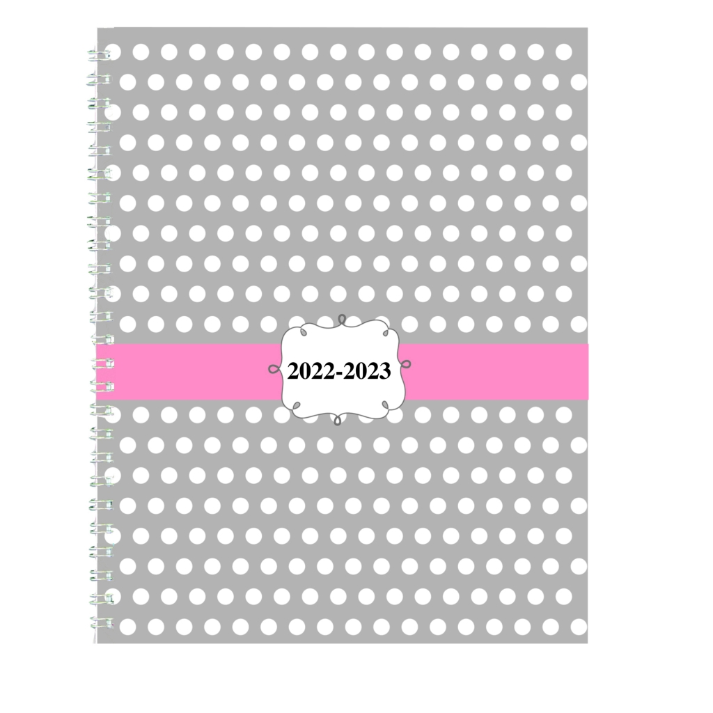 Monthly and Weekly Academic Calendar Planner Dot Design Hard Cover 7 x 9 Inches