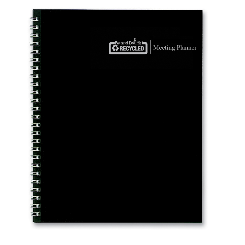 Meeting Note Planner Black Hard Cover 6 x 9 Inches