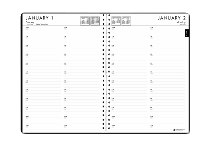 Daily And Monthly 24-7 Planner Calendar Black 7 x 10