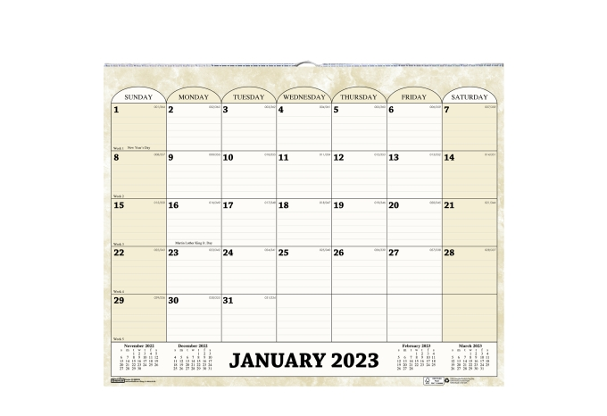 Weekly Calendar Horizontal : Monthly horizontal wall calendar  inches