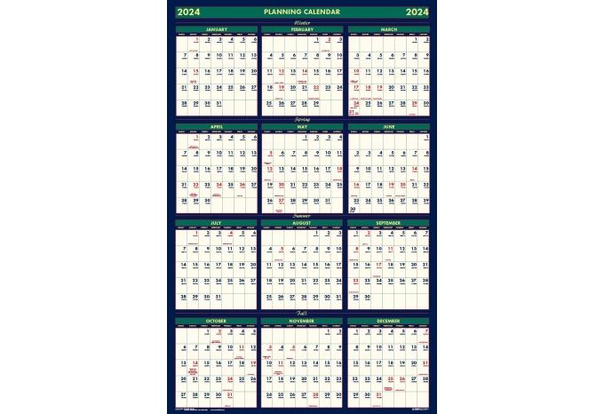 Mid Year Calendar : Laminated wipe off wall calendar academic four seasons