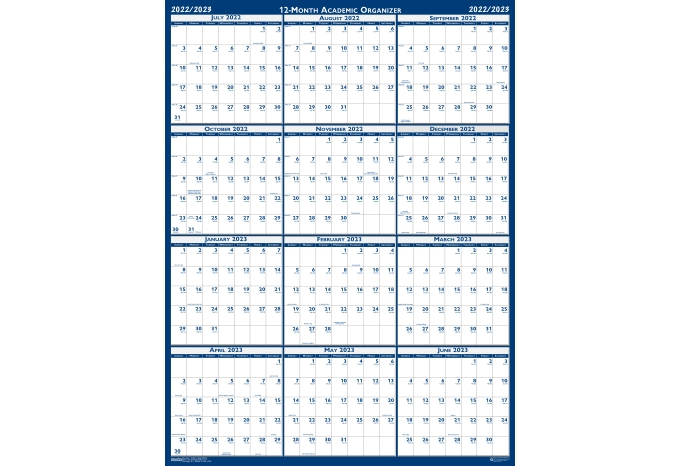 Mid Year Calendar : Laminated wipe off wall calendar academic classic